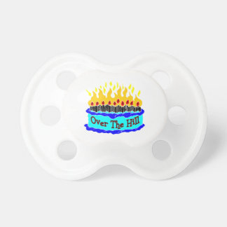 Over The Hill Flaming Birthday Cake Pacifier