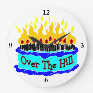 Over The Hill Flaming Birthday Cake Wall Clocks