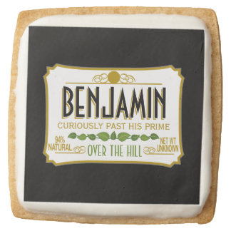 Over the Hill Funny Birthday Party Square Shortbread Cookie