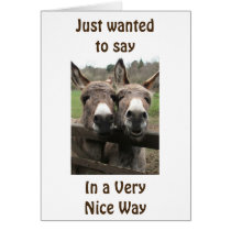 """OVER THE HILL LOOKS GREAT ON YOU"" SAYS DONKEYS CARD"