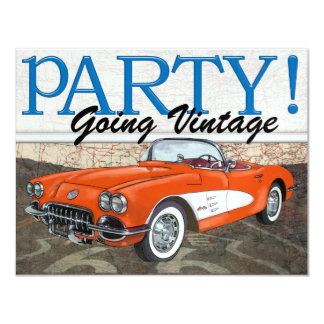 Over the Hill - Route 66 - Vintage Cars- SRF Personalized Invites