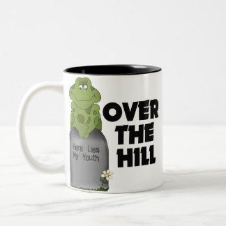Over The Hill Tombstone Two-Tone Coffee Mug