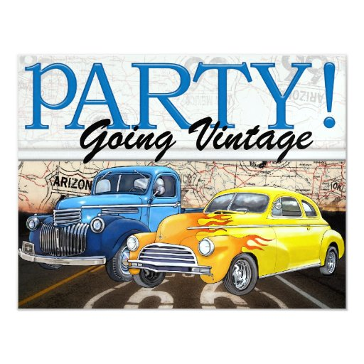 Over the Hill - Vintage Cars- SRF 4.25x5.5 Paper Invitation Card
