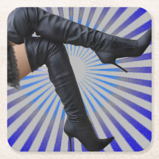 Over the Knee Thigh High Boots - Blue Starburst Square Paper Coaster