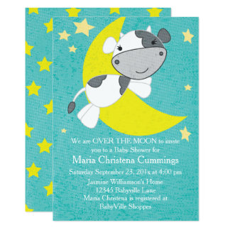 Over The Moon Baby Shower Invitation