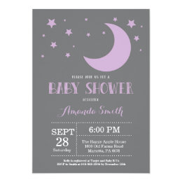 Over the Moon Baby Shower Invitation Purple