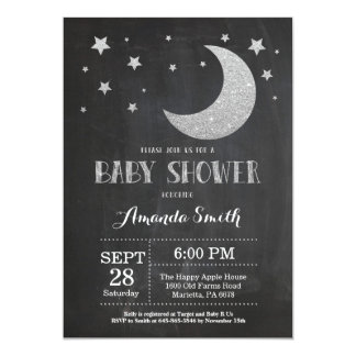 Over the Moon Baby Shower Invitation Silve Glitter