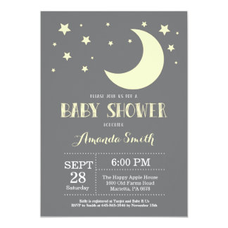 Over the Moon Baby Shower Invitation Yellow