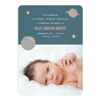 Over the Moon Birth Announcement