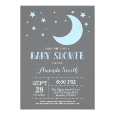 Over the Moon Boy Baby Shower Invitation Blue