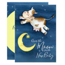 Over the moon cow jump baby shower invitation