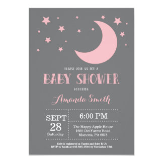 Over the Moon Girl Baby Shower Invitation Pink