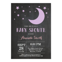 Over the Moon Girl Baby Shower Invitation Purple
