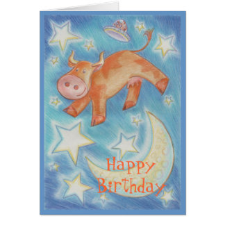 Over the Moon 'Happy Birthday' card front text