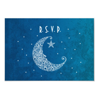 Over the Moon Wedding RSVP card