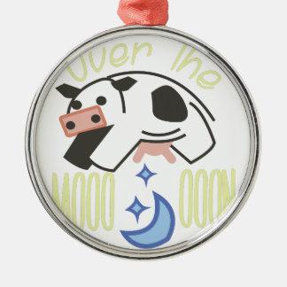 Over the Moooooon Metal Ornament