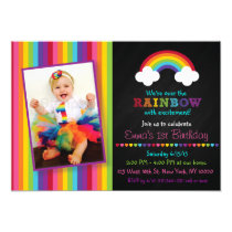 Over the Rainbow Chalkboard Birthday Invitations