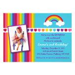 Over the Rainbow Girls Photo Birthday Invitations