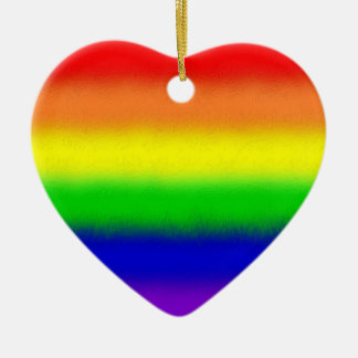 Over the Rainbow Double-Sided Heart Ceramic Christmas Ornament