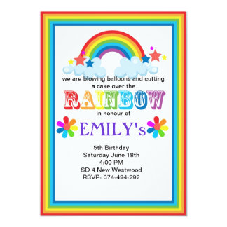 Over the rainbow party invite