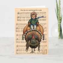 Over The River And Through The Woods - Turkey Holiday Card