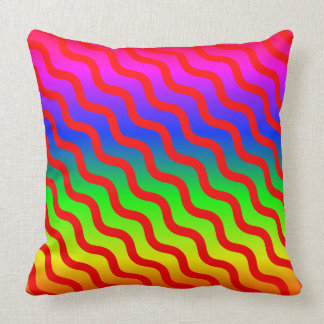 Over The Top Design, Rainbow Colors Red Wavy Lines Throw Pillow