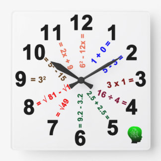 Over Time: Math Evolution In The Classroom Square Wall Clock