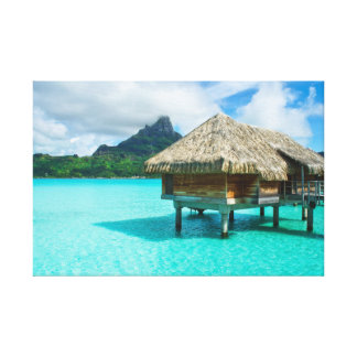 Over-water bungalow, Bora Bora canvas print