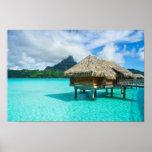 Over-water bungalow, Bora Bora poster print
