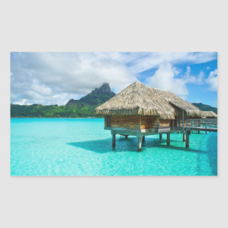 Over-water bungalow, Bora Bora rectangular sticker