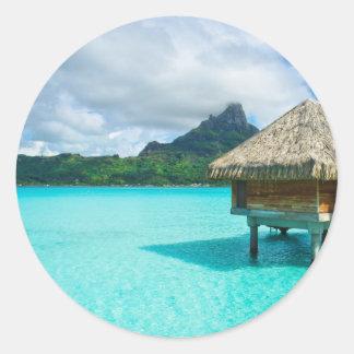 Over-water bungalow, Bora Bora round sticker