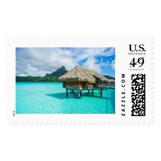Over-water bungalow, Bora Bora stamp
