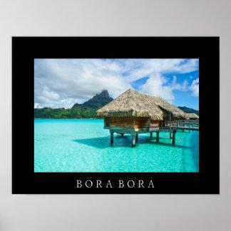 Over-water bungalow, Bora Bora text poster print