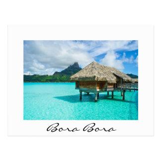 Over-water bungalow, Bora Bora white text postcard