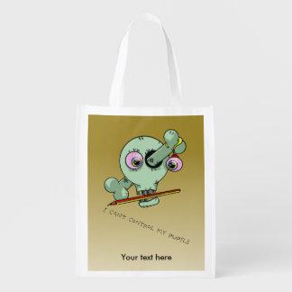 Over Worked Bad Teacher Funny Skull Grocery Bag