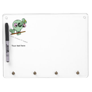 Over Worked Teacher Funny Skull Customizable Dry Erase Board With Keychain Holder
