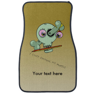 Over Worked Teacher Skull Customizable Car Mat