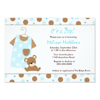 """Overalls and Teddy Bear Baby Shower Invitation 5"""" X 7"""" Invitation Card"""