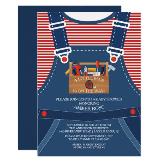 Overalls Little Man Tools Baby Shower Invitation