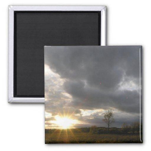 Overcast Sunset Fridge Magnet