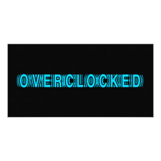 Overclocked blue photo card template
