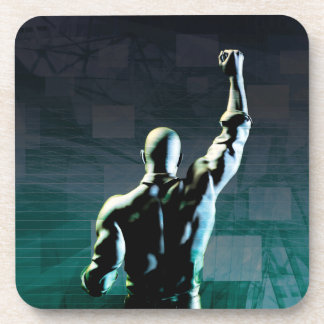 Overcoming Obstacles with Man Achieving Success Beverage Coaster