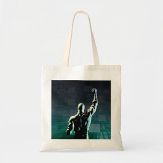 Overcoming Obstacles with Man Achieving Success Budget Tote Bag