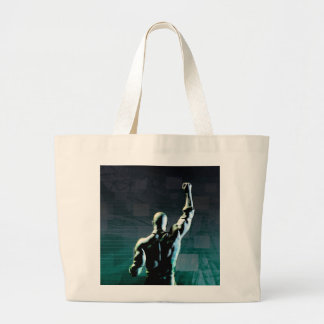 Overcoming Obstacles with Man Achieving Success Jumbo Tote Bag
