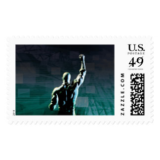 Overcoming Obstacles with Man Achieving Success Postage