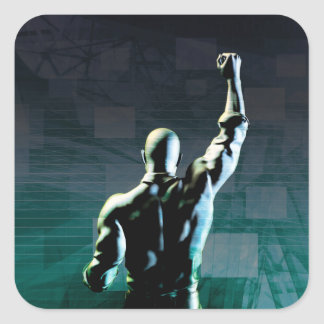 Overcoming Obstacles with Man Achieving Success Square Sticker