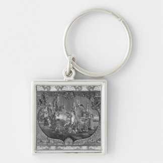 Overdoor panel with chinese subject, c.1730 Silver-Colored square keychain