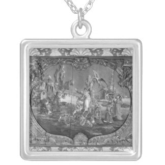 Overdoor panel with chinese subject, c.1730 silver plated necklace