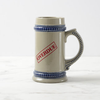 Overdue Stamp - Red Ink Beer Stein