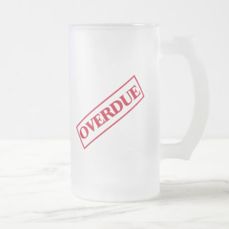 Overdue Stamp - Red Ink Frosted Glass Beer Mug